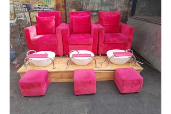 Thanh lý ghế làm nails cũ màu hồng mới 98%