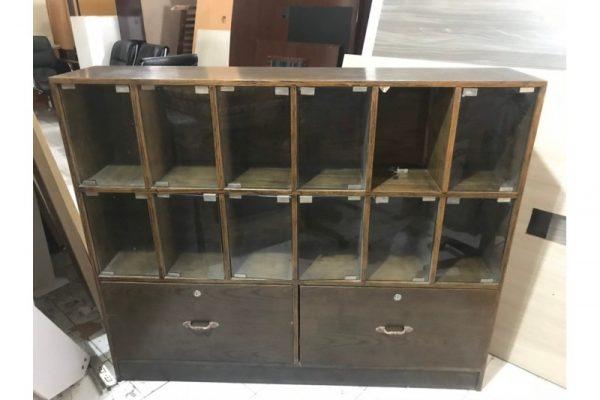 Thanh lý Tủ kệ hồ sơ mặt kính màu nâu cũ giá rẻ