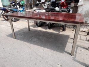 Thanh lý bàn họp cũ 2m x 1m chân inox giá rẻ