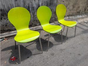 Thanh lý ghế chân inox cũ màu xanh lá giá rẻ
